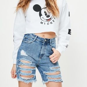 Missguided High Rise Ripped Jean Shorts
